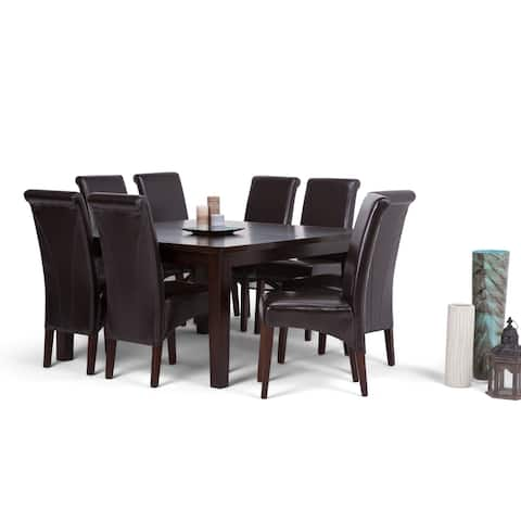WYNDENHALL Franklin Transitional 9 Pc Dining Set with 6 Upholstered Dining Chairs and 54 inch Wide Table