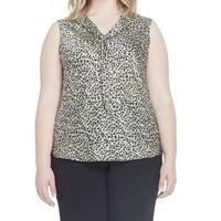 Tahari by ASL NEW Yellow Blue Womens Size 2X Plus Animal-Print Blouse