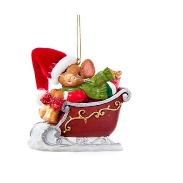 "2.75"" Mouseville Santa Decorative Christmas Ornament - RED"