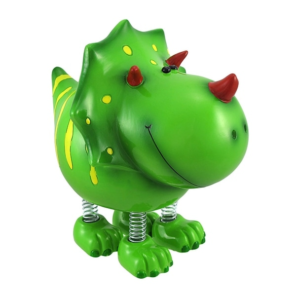 Smiling Green Triceratops Dinosaur with Spring Legs Children's Coin Bank. Opens flyout.