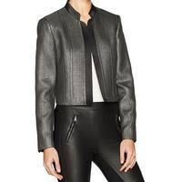 Nine West Black Womens Size 4 Shimmer Notch Collar Blazer Jacket