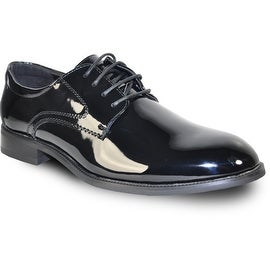 VANGELO Men Dress Shoe TAB Oxford Formal Tuxedo for Prom & Wedding Shoe Black Patent -Wide Width Available