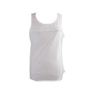 Charter Club Bright White Sleeveless Crochet-Yoke T-Shirt M