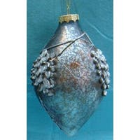 "6"" Silent Luxury Crackled Grey Finial With Pinecone Pattern Christmas Ornament"