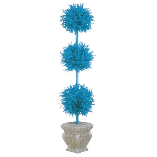 5' Pre-Lit Blue Tinsel Triple Ball Potted Topiary Tree - Blue Lights