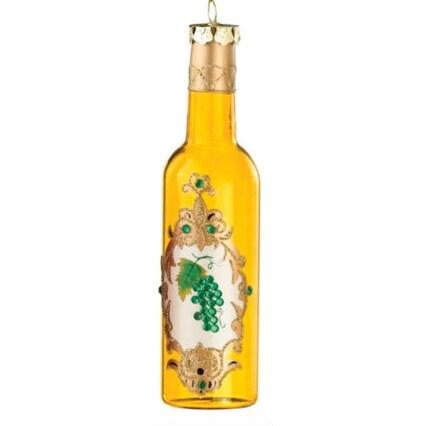 """6"""" Ornate Gold Glittered Wine Bottle Christmas Ornament"""