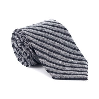Tom Ford Mens Grey Bicolor Stripe Pure Silk 3 Inch Classic Tie - One size
