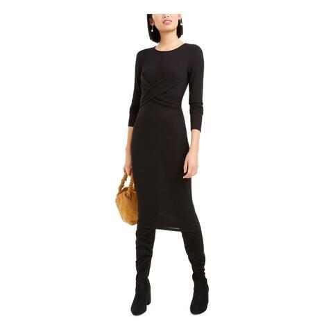 BAR III Womens Black Long Sleeve Midi Body Con Evening Dress Size M