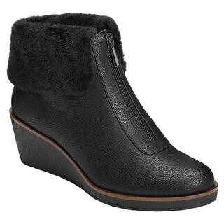 A2 by Aerosoles Women's Bintegrity Wedge Boot Black Faux Leather/Faux Fur
