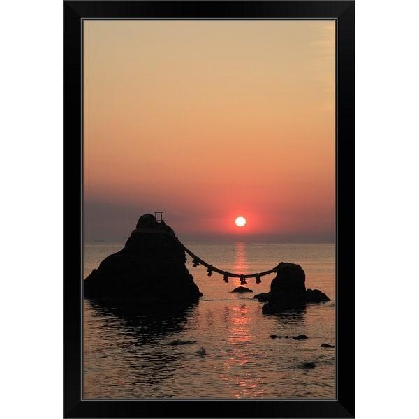 """Morning Sun and Meoto-iwa, Ise, Mie, Japan"" Black Framed Print"