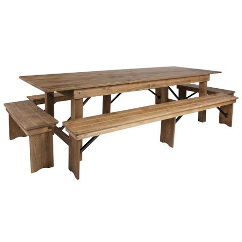 """9' x 40"""" Antique Rustic Folding Farm Table and Four Bench Set"""