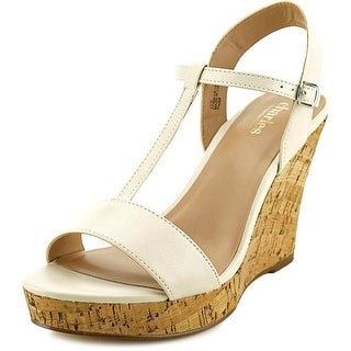 Charles By Charles David Libra Women Open Toe Leather White Wedge Sandal