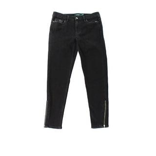 Lauren Ralph Lauren NEW Black Women Size 8 Zip-Cuff Cropped Skinny Jeans