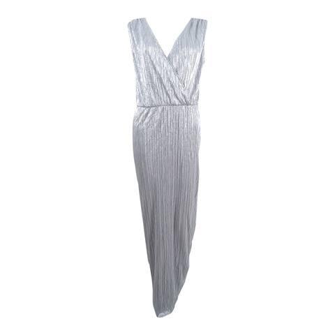 SL Fashions Women's Metallic Pleated Column Gown