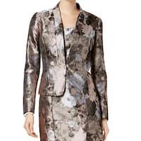 Kasper Gray Womens Size 6 Kiss Front Floral Petal Jacqaurd Jacket