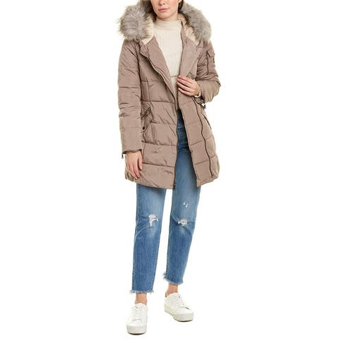 Vince Camuto Asymmetrical Puffer Jacket - dove