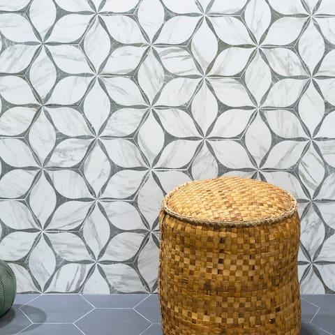 "TileGen. Corola 8"" x 9"" Porcelain Patterned in Grey Wall & Floor Tile (25 tiles/10sqft.)"