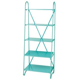 "67.5"" Vibrant Minty Blue-Green Five Tier X-Frame Metal Display Shelf"