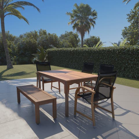 Popham Eucalytpus 6-piece Patio Dining Set with Black Chairs by Havenside Home