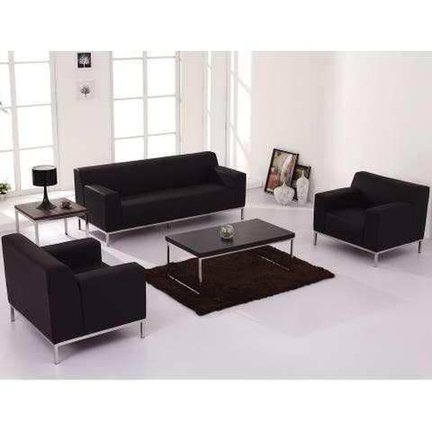 Black LeatherSoft Loveseat w/ Line Stitching & Integrated Stainless Steel Frame