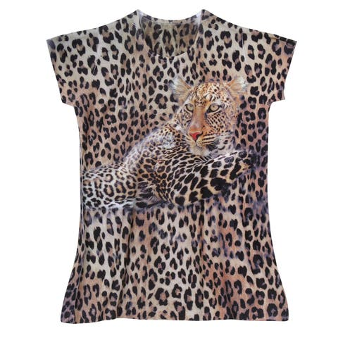 What On Earth Women's Leopard T-Shirt Top - Animal Print Tee with Cap Sleeve