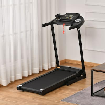 Soozier Treadmill Machine Electric Motorised Folding Running Machine 12 Preset Programs w/ LED Display for Home Gym Black