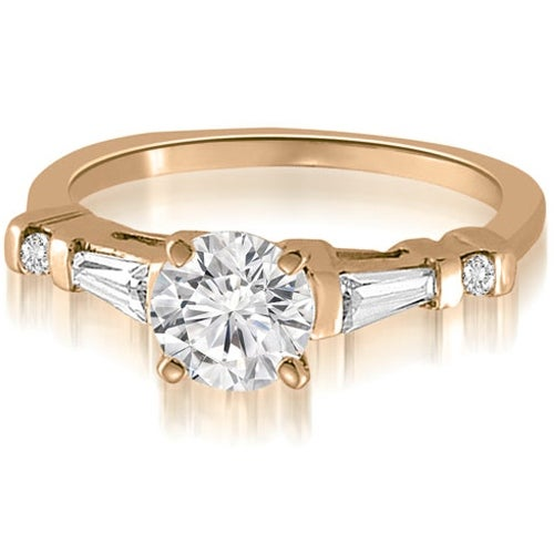 0.75 cttw. 14K Rose Gold Round And Tapered Baguette Diamond Engagement Ring