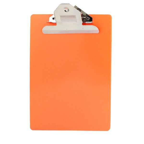 Unique Bargains Office School A5 Paper File Note Writing Holder Clamp Clip  Board Orangered