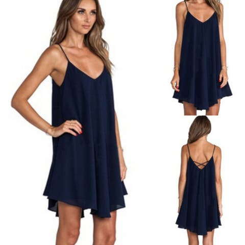 da172fc996d Summer Sexy Strap Sleeveless Women Chiffon Dress