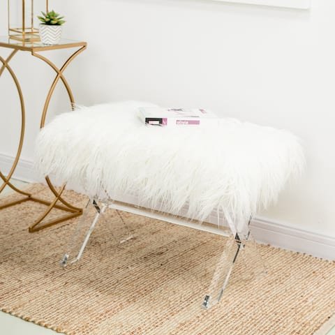 """Glitzhome 25.6""""L Fauxfur Upholstered Bench with Acrylic X-Leg"""