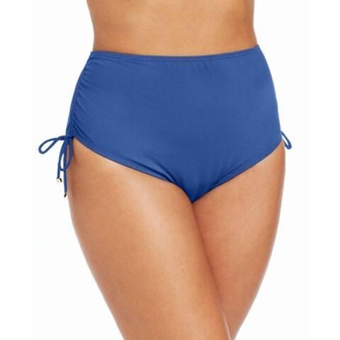 MICHAEL Michael Kors Blue Womens 22W Plus Hi-Waist Bikini Bottom