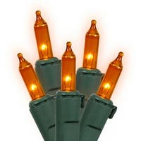 Set of 100 Orange Mini Christmas Lights - Green Wire
