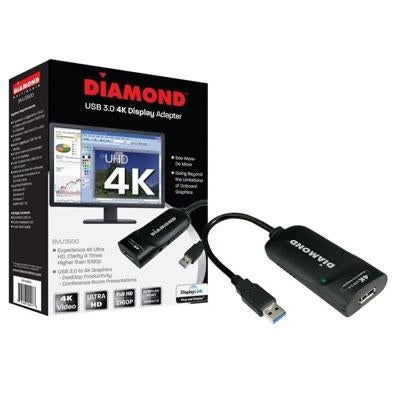 Diamond Usb 3.0 To Displayport 4K Uhd (Ultra-High-Definition) Video Graphics Adapter For Multiple Monitors Up To 3840X21