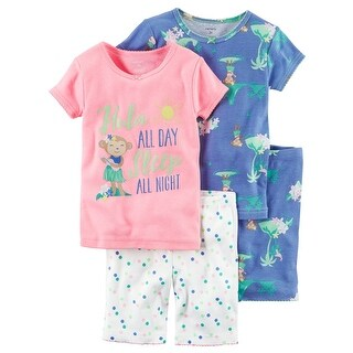 Carter's Baby Girls' 4-Piece Snug Fit Neon PJs, 6 Months - MultiColor