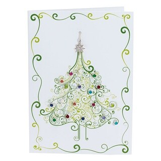 Floriana Christmas Tree Holiday Greeting Card with Crystal & Pearl Earrings & Pendant Necklace - 20 Piece Jewelry Set