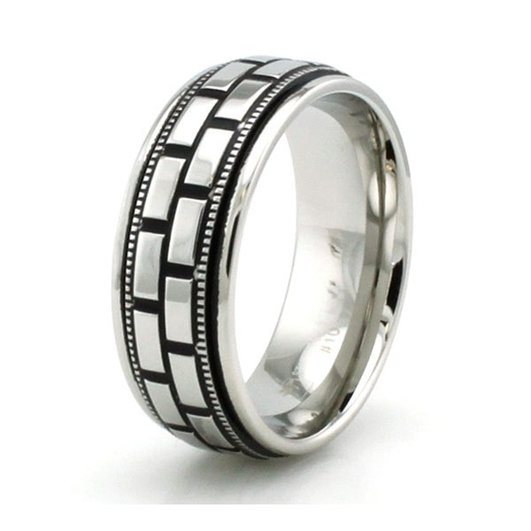 High Polish Stainless Steel Brick and Grain Design Ring