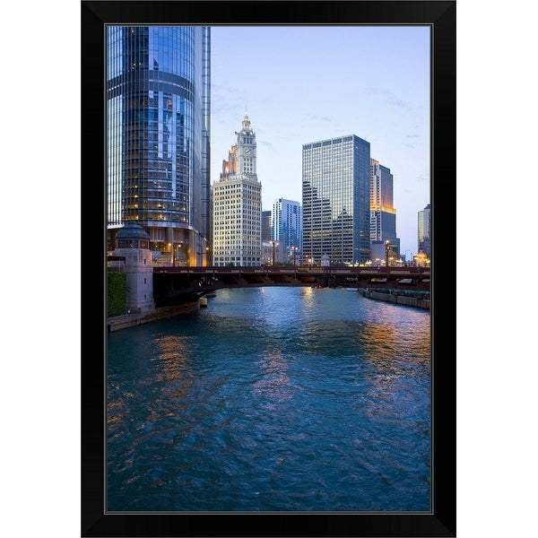 """""""Chicago river and skyscrapers, Illinois"""" Black Framed Print"""