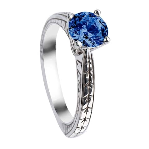 WISTERIA Round Cut Solitaire Blue Sapphire White Gold Engagement Ring with Polished Filagree Pattern