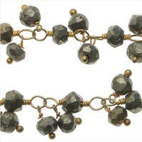 Gold Vermeil Wire Wrapped Gemstone Chain, 3.5mm Pyrite Rondelles, 1 Inch