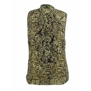 Ralph Lauren Women's Sleeveless Ruffle Front Blouse - Black/multi