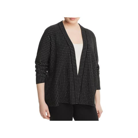 Eileen Fisher Womens Plus Cardigan Sweater Printed Open-Front