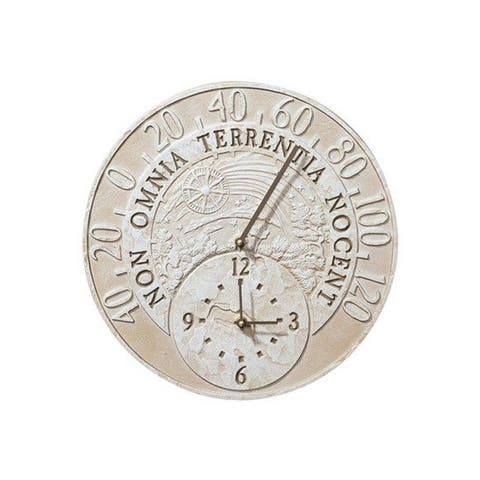 Whitehall Fossil Celestial Thermometer Clock - Moss Green - Moss Green