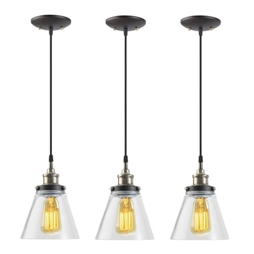 """Globe Electric 65207 Vintage Single Light 65"""" Adjustable Pendant with Clear Glass Shade - Pack of 3"""