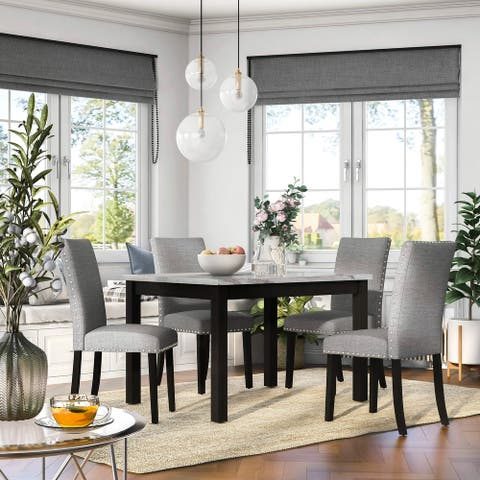 Furniture of America Paulina White and Grey Marble 5-Piece Dining Set
