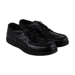 Hush Puppies Vines Victory Mens Black Leather Casual Dress Boat Shoes