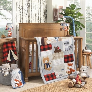 Lambs & Ivy Little Campers Gray/White/Red Check Woodland Animal Theme Baby Nursery Crib Bedding Set