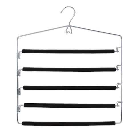Closet Spice - 2 Pack - Strong, Durable Anti-Rust Chrome 5 Tier Pant Hangers, Non Slip Foam Padded, Space Saving, Swing Design
