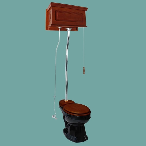 Mahogany High Tank Pull Chain Toilet Conversion Kit With Z-pipe