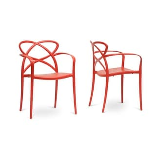 Huxx Red Plastic Stackable Modern Dining Chair  - 2 Chairs