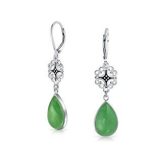Bling Jewelry Dyed Green Jade 925 Silver Filigree Teardrop Dangle Earrings